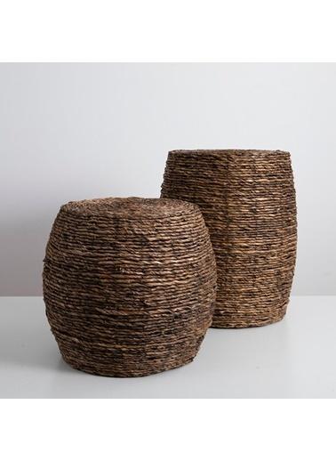Chakra Odette Ahşap Tabure 33x46 cm Kahve Kahve